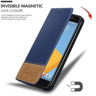 Cadorabo Hülle für HTC 10 (One M10) in DUNKEL BLAU BRAUN - Handyhülle mit Magnetverschluss, Standfunktion und Kartenfach - Case Cover Schutzhülle Etui Tasche Book Klapp Style - Vorschau 3