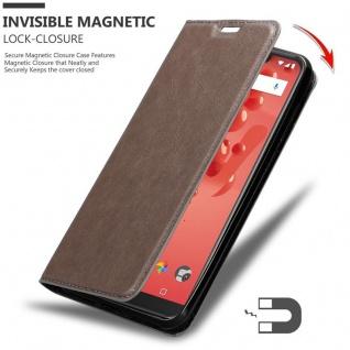 Cadorabo Hülle für WIKO VIEW 2 PLUS in KAFFEE BRAUN - Handyhülle mit Magnetverschluss, Standfunktion und Kartenfach - Case Cover Schutzhülle Etui Tasche Book Klapp Style - Vorschau 3