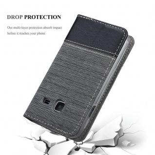 Cadorabo Hülle für Samsung Galaxy J1 MINI 2016 in GRAU SCHWARZ - Handyhülle mit Magnetverschluss, Standfunktion und Kartenfach - Case Cover Schutzhülle Etui Tasche Book Klapp Style - Vorschau 5