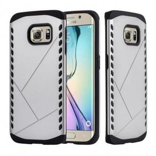 Cadorabo Hülle für Samsung Galaxy S6 EDGE - Hülle in GUARDIAN SILBER ? Hard Case TPU Silikon Schutzhülle für Hybrid Cover im Outdoor Heavy Duty Design