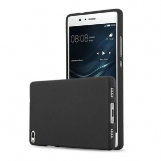 Cadorabo Hülle für Huawei P8 in FROST SCHWARZ - Handyhülle aus flexiblem TPU Silikon - Silikonhülle Schutzhülle Ultra Slim Soft Back Cover Case Bumper