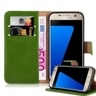 Cadorabo Hülle für Samsung Galaxy S7 in GRAS GRÜN ? Handyhülle mit Magnetverschluss, Standfunktion und Kartenfach ? Case Cover Schutzhülle Etui Tasche Book Klapp Style