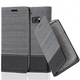 Cadorabo Hülle für HTC 10 (One M10) - Hülle in GRAU SCHWARZ ? Handyhülle mit Standfunktion und Kartenfach im Stoff Design - Case Cover Schutzhülle Etui Tasche Book
