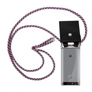 Cadorabo Handy Kette für Huawei NOVA in ROT WEISS Silikon Necklace Umhänge Hülle mit Silber Ringen, Kordel Band Schnur und abnehmbarem Etui Schutzhülle