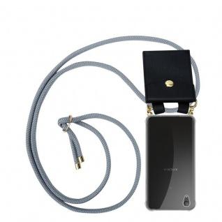 Cadorabo Handy Kette für Sony Xperia XA1 PLUS in SILBER GRAU Silikon Necklace Umhänge Hülle mit Gold Ringen, Kordel Band Schnur und abnehmbarem Etui Schutzhülle