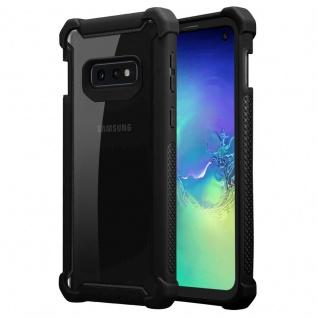 Cadorabo Hülle für Samsung Galaxy S10e in ERLEN SCHWARZ 2-in-1 Handyhülle mit TPU Silikon-Rand und Acryl-Glas-Rücken Schutzhülle Hybrid Hardcase Back Case