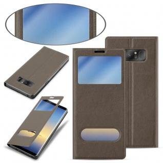 Cadorabo Hülle für Samsung Galaxy NOTE 8 in STEIN BRAUN - Handyhülle mit Magnetverschluss, Standfunktion und 2 Sichtfenstern - Case Cover Schutzhülle Etui Tasche Book Klapp Style - Vorschau 3