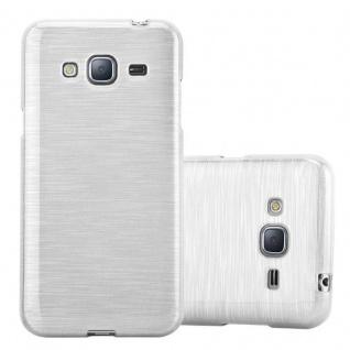 Cadorabo Hülle für Samsung Galaxy J3 / J3 DUOS 2016 in SILBER - Handyhülle aus flexiblem TPU Silikon - Silikonhülle Schutzhülle Ultra Slim Soft Back Cover Case Bumper