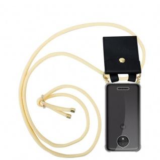 Cadorabo Handy Kette für Motorola MOTO C PLUS in CREME BEIGE Silikon Necklace Umhänge Hülle mit Gold Ringen, Kordel Band Schnur und abnehmbarem Etui Schutzhülle