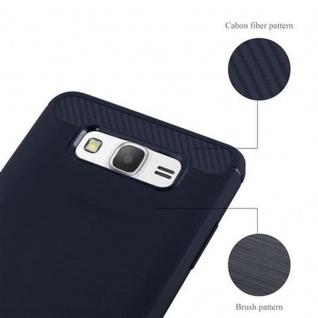 Cadorabo Hülle für Samsung Galaxy GRAND PRIME - Hülle in BRUSHED BLAU - Handyhülle aus TPU Silikon in Edelstahl-Karbonfaser Optik - Silikonhülle Schutzhülle Ultra Slim Soft Back Cover Case Bumper - Vorschau 5