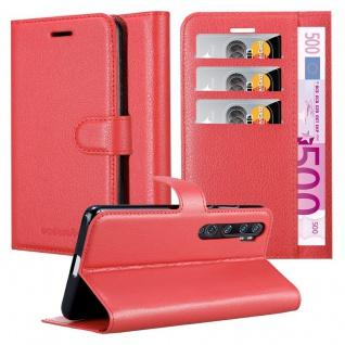 Cadorabo Hülle für Xiaomi RedMi NOTE 10 in KARMIN ROT Handyhülle mit Magnetverschluss, Standfunktion und Kartenfach Case Cover Schutzhülle Etui Tasche Book Klapp Style