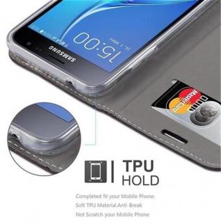 Cadorabo Hülle für Samsung Galaxy J3 2016 in ANTRAZIT GOLD - Handyhülle mit Magnetverschluss, Standfunktion und Kartenfach - Case Cover Schutzhülle Etui Tasche Book Klapp Style - Vorschau 3