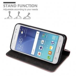 Cadorabo Hülle für Samsung Galaxy J5 2015 in ROSÉ GOLD SCHWARZ - Handyhülle mit Magnetverschluss, Standfunktion und Kartenfach - Case Cover Schutzhülle Etui Tasche Book Klapp Style - Vorschau 4