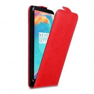 Cadorabo Hülle für OnePlus 5T in APFEL ROT Handyhülle im Flip Design mit Magnetverschluss Case Cover Schutzhülle Etui Tasche Book Klapp Style