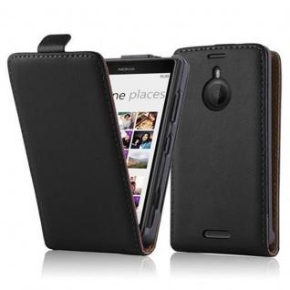 Cadorabo Hülle für Nokia Lumia 1520 in KAVIAR SCHWARZ - Handyhülle im Flip Design aus glattem Kunstleder - Case Cover Schutzhülle Etui Tasche Book Klapp Style