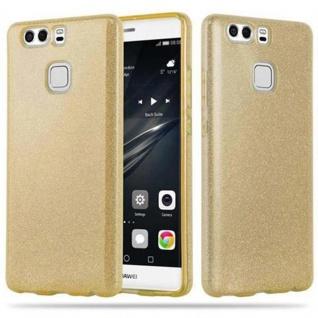 Cadorabo Hülle für Huawei P9 - Hülle in STERNENSTAUB GOLD - TPU Silikon und Hardcase Handyhülle im Glitzer Design - Hard Case TPU Silikon Schutzhülle
