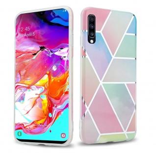 Cadorabo Hülle für Samsung Galaxy A70 Hülle in Regenbogen Marmor No.11 Handyhülle aus TPU Silikon mit Muster Mosaik Silikonhülle Schutzhülle Ultra Slim Back Cover Case Bumper