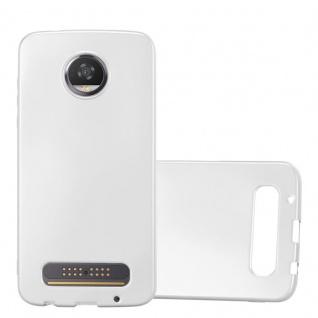 Cadorabo Hülle für Motorola MOTO Z2 PLAY in METALLIC SILBER - Handyhülle aus flexiblem TPU Silikon - Silikonhülle Schutzhülle Ultra Slim Soft Back Cover Case Bumper