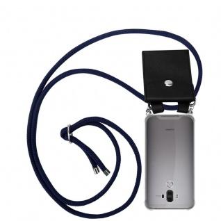Cadorabo Handy Kette für Huawei MATE 9 in TIEF BLAU Silikon Necklace Umhänge Hülle mit Silber Ringen, Kordel Band Schnur und abnehmbarem Etui Schutzhülle