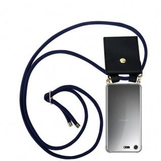Cadorabo Handy Kette für Sony Xperia XZ Premium in TIEF BLAU - Silikon Necklace Umhänge Hülle mit Gold Ringen, Kordel Band Schnur und abnehmbarem Etui ? Schutzhülle