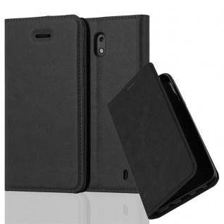 Cadorabo Hülle für Nokia 2 2017 in NACHT SCHWARZ - Handyhülle mit Magnetverschluss, Standfunktion und Kartenfach - Case Cover Schutzhülle Etui Tasche Book Klapp Style