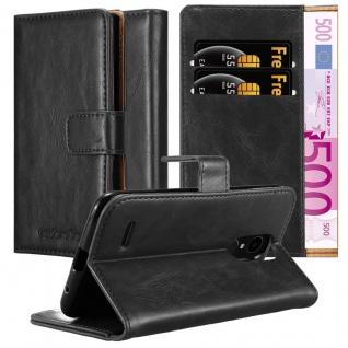 Cadorabo Hülle für LG K4 2017 in GRAPHIT SCHWARZ Handyhülle mit Magnetverschluss, Standfunktion und Kartenfach Case Cover Schutzhülle Etui Tasche Book Klapp Style