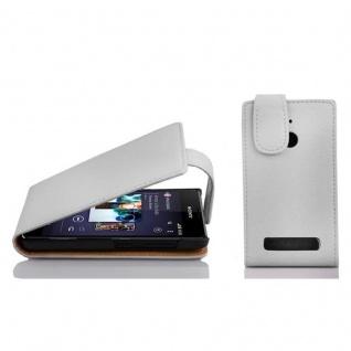 Cadorabo Hülle für Sony Xperia E1 in MAGNESIUM WEIß - Handyhülle im Flip Design aus strukturiertem Kunstleder - Case Cover Schutzhülle Etui Tasche Book Klapp Style