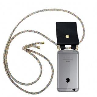 Cadorabo Handy Kette für Apple iPhone 6 PLUS / iPhone 6S PLUS in RAINBOW - Silikon Necklace Umhänge Hülle mit Gold Ringen, Kordel Band Schnur und abnehmbarem Etui ? Schutzhülle