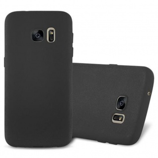 Cadorabo Hülle für Samsung Galaxy S7 in FROST SCHWARZ - Handyhülle aus flexiblem TPU Silikon - Silikonhülle Schutzhülle Ultra Slim Soft Back Cover Case Bumper