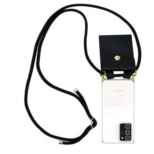Cadorabo Handy Kette für Samsung Galaxy NOTE 20 PLUS in SCHWARZ Silikon Necklace Umhänge Hülle mit Gold Ringen, Kordel Band Schnur und abnehmbarem Etui Schutzhülle