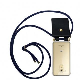 Cadorabo Handy Kette für Huawei NOVA PLUS in TIEF BLAU - Silikon Necklace Umhänge Hülle mit Gold Ringen, Kordel Band Schnur und abnehmbarem Etui ? Schutzhülle