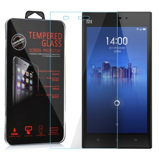 Cadorabo Panzer Folie für Xiaomi Mi 3 Schutzfolie in KRISTALL KLAR Gehärtetes (Tempered) Display-Schutzglas in 9H Härte mit 3D Touch Kompatibilität