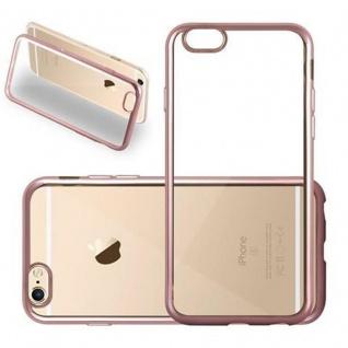 Cadorabo Hülle für Apple iPhone 6 / iPhone 6S - Hülle in TRANSPARENT mit CHROM ROSEGOLD ? Handyhülle aus TPU Silikon im Chrom Design - Silikonhülle Schutzhülle Ultra Slim Soft Back Cover Case Bumper