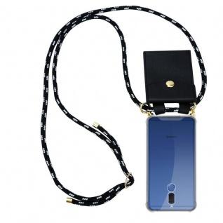 Cadorabo Handy Kette für Huawei MATE 10 LITE in SCHWARZ SILBER - Silikon Necklace Umhänge Hülle mit Gold Ringen, Kordel Band Schnur und abnehmbarem Etui ? Schutzhülle