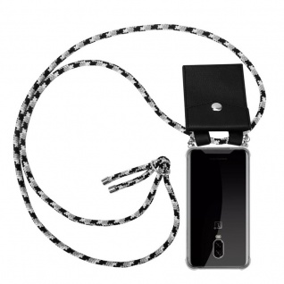 Cadorabo Handy Kette für OnePlus 6T in SCHWARZ CAMOUFLAGE Silikon Necklace Umhänge Hülle mit Silber Ringen, Kordel Band Schnur und abnehmbarem Etui Schutzhülle