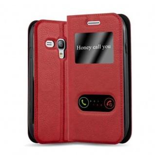 Cadorabo Hülle für Samsung Galaxy S3 MINI in SAFRAN ROT - Handyhülle mit Magnetverschluss, Standfunktion und 2 Sichtfenstern - Case Cover Schutzhülle Etui Tasche Book Klapp Style