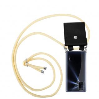 Cadorabo Handy Kette für Oppo A92 in CREME BEIGE Silikon Necklace Umhänge Hülle mit Silber Ringen, Kordel Band Schnur und abnehmbarem Etui Schutzhülle