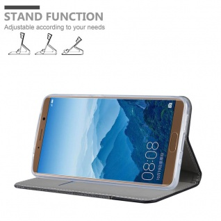 Cadorabo Hülle für Huawei MATE 10 in GRAU SCHWARZ - Handyhülle mit Magnetverschluss, Standfunktion und Kartenfach - Case Cover Schutzhülle Etui Tasche Book Klapp Style - Vorschau 4