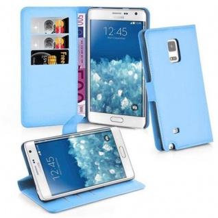 Cadorabo Hülle für Samsung Galaxy NOTE EDGE in PASTEL BLAU Handyhülle mit Magnetverschluss, Standfunktion und Kartenfach Case Cover Schutzhülle Etui Tasche Book Klapp Style