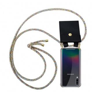 Cadorabo Handy Kette für Samsung Galaxy A70 in RAINBOW - Silikon Necklace Umhänge Hülle mit Gold Ringen, Kordel Band Schnur und abnehmbarem Etui ? Schutzhülle