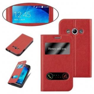 Cadorabo Hülle für Samsung Galaxy XCOVER 3 in SAFRAN ROT - Handyhülle mit Magnetverschluss, Standfunktion und 2 Sichtfenstern - Case Cover Schutzhülle Etui Tasche Book Klapp Style - Vorschau 4