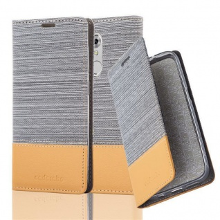 Cadorabo Hülle für ZTE Axon 7 MINI in HELL GRAU BRAUN - Handyhülle mit Magnetverschluss, Standfunktion und Kartenfach - Case Cover Schutzhülle Etui Tasche Book Klapp Style