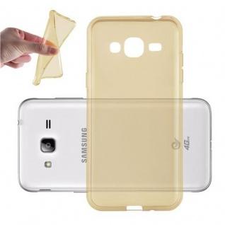 Cadorabo Hülle für Samsung Galaxy J3 2016 in TRANSPARENT GOLD - Handyhülle aus flexiblem TPU Silikon - Silikonhülle Schutzhülle Ultra Slim Soft Back Cover Case Bumper