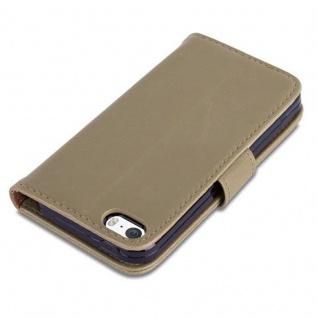 Cadorabo Hülle für Apple iPhone 5 / iPhone 5S / iPhone SE in CAPPUCCINO BRAUN ? Handyhülle mit Magnetverschluss, Standfunktion und Kartenfach ? Case Cover Schutzhülle Etui Tasche Book Klapp Style - Vorschau 5