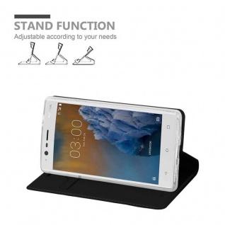 Cadorabo Hülle für Nokia 3 2017 in CLASSY SCHWARZ - Handyhülle mit Magnetverschluss, Standfunktion und Kartenfach - Case Cover Schutzhülle Etui Tasche Book Klapp Style - Vorschau 4