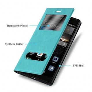 Cadorabo Hülle für Huawei P8 in MINT TÜRKIS - Handyhülle mit Magnetverschluss, Standfunktion und 2 Sichtfenstern - Case Cover Schutzhülle Etui Tasche Book Klapp Style - Vorschau 2