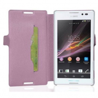 Cadorabo Hülle für Sony Xperia C - Hülle in ICY ROSE ? Handyhülle mit Standfunktion und Kartenfach im Ultra Slim Design - Case Cover Schutzhülle Etui Tasche Book