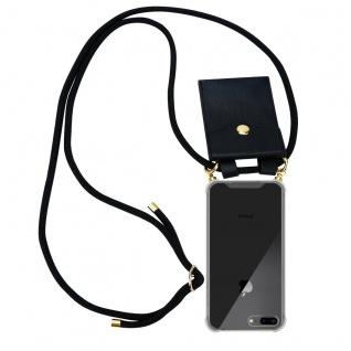 Cadorabo Handy Kette für Apple iPhone 8 PLUS / 7 PLUS / 7S PLUS in ARONIA SCHWARZ Silikon Necklace Umhänge Hülle mit Gold Ringen, Kordel Band Schnur und abnehmbarem Etui Schutzhülle