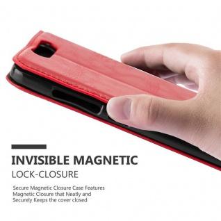 Cadorabo Hülle für ZTE BLADE V8 in APFEL ROT Handyhülle mit Magnetverschluss, Standfunktion und Kartenfach Case Cover Schutzhülle Etui Tasche Book Klapp Style - Vorschau 5