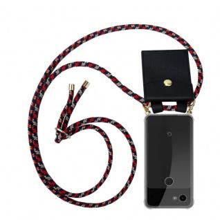 Cadorabo Handy Kette für Google Pixel 3a in ROT BLAU GELB Silikon Necklace Umhänge Hülle mit Gold Ringen, Kordel Band Schnur und abnehmbarem Etui Schutzhülle